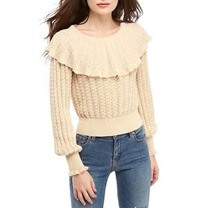 FP Crazy in Love Ruffle Pointelle Sweater Size XL